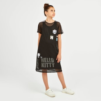 Hello Kitty Print Dress with Short Sleeves