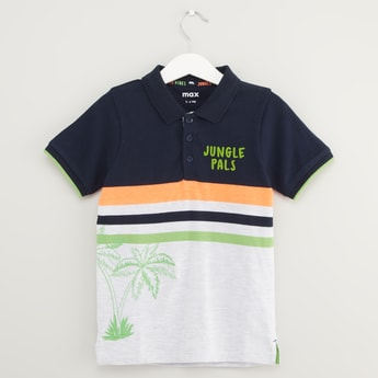 Tropical Print Polo T-shirt with Short Sleeves