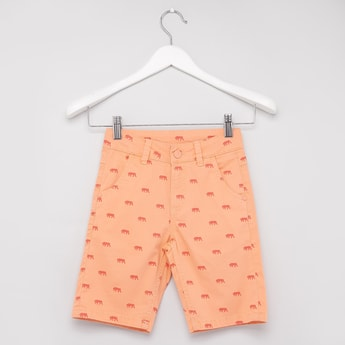 Printed Shorts with Belt Loops and Pocket Detail
