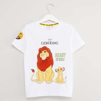 Lion King Print T-shirt with Short Sleeves