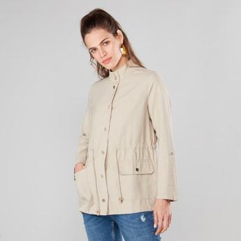 Solid High Neck Utility Jacket with Long Sleeves