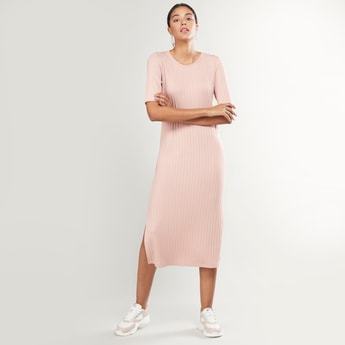 Ribbed Round Neck Midi Dress with Short Sleeves