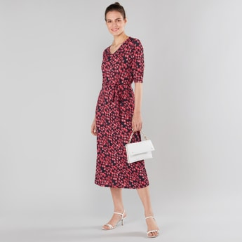 Floral Print Midi Dress with Elbow Sleeves