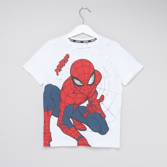 Spider-Man Graphic Print Round Neck T-shirt with Short Sleeves