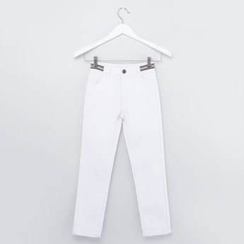 Solid Jeans with Pocket Detail and Striped Waistband