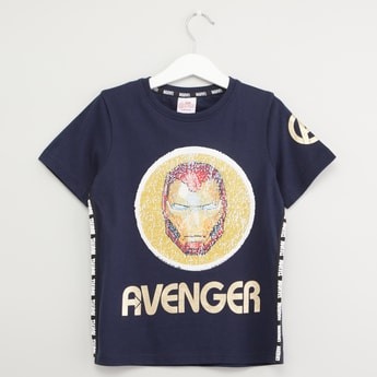 Avengers Sequin Detail T-shirt with Short Sleeves