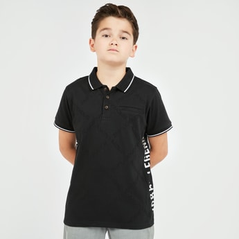 Text Print Polo T-shirt with Short Sleeves