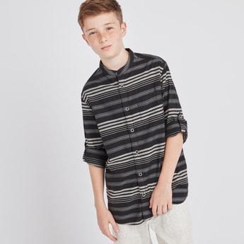 Striped Mandarin Collar Shirt with Long Sleeves