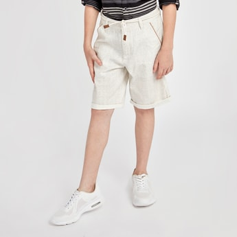 Striped Shorts with Pockets and Rope Belt