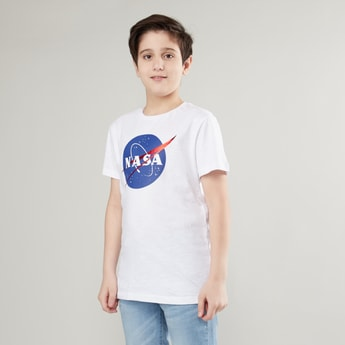 NASA Printed Round Neck T-shirt with Short Sleeves