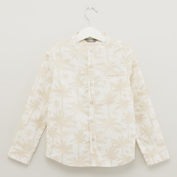 Palm Print Shirt with Long Sleeves and Welt Pocket