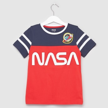 NASA Printed T-shirt with Round Neck and Short Sleeves