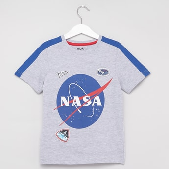 NASA Print T-shirt with Round Neck and Short Sleeves