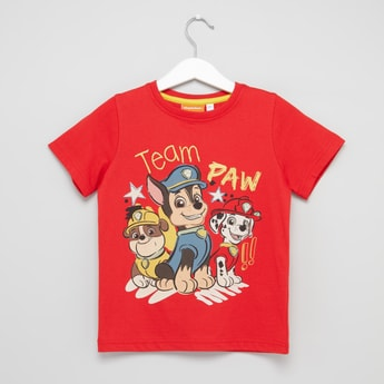 Paw Patrol Printed Round Neck T-shirt with Short Sleeves