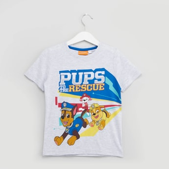 Paw Patrol Printed T-shirt with Round Neck and Short Sleeves