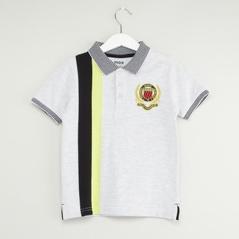 Striped Polo T-shirt with Short Sleeves and Embroidered Patch