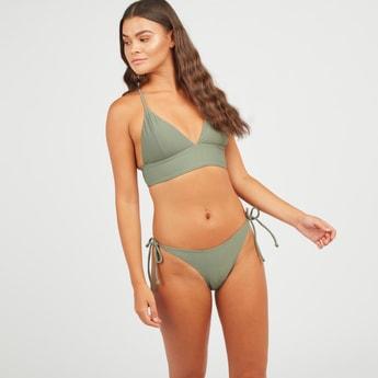 Textured Swim Bra with Adjustable Cross Straps