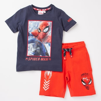 Spider-Man Print Round Neck T-shirt and Shorts Set