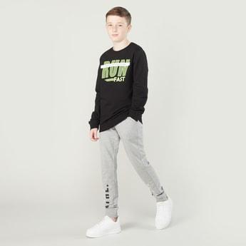 Printed Round Neck Sweatshirt with Full Length Jog Pants