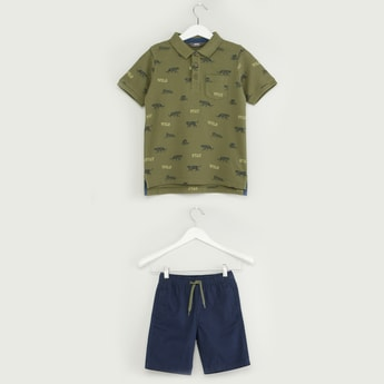 Printed Polo T-shirt with Solid Pocket Detail Shorts