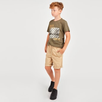 Text Print Short Sleeves T-shirt with Pocket Detail Shorts