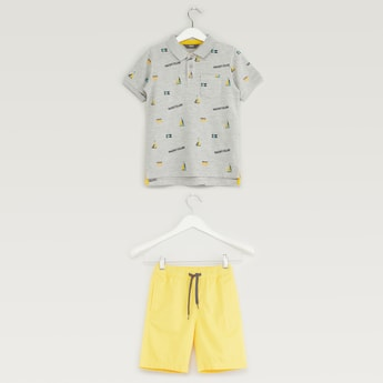 Printed Polo T-shirt with Pocket Detail Shorts