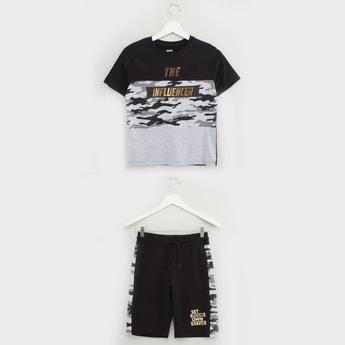 Colourblock Round Neck T-shirt with Pocket Detail Shorts