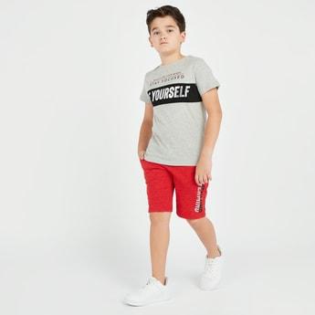 Text Print Short Sleeves T-shirt and Shorts Set