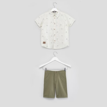Printed Short Sleeves Shirt with Pocket Detail Shorts