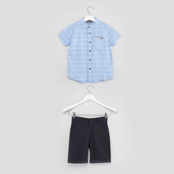 Striped Short Sleeves Shirt with Pocket Detail Shorts