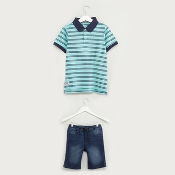 Striped Polo T-shirt with Denim Shorts