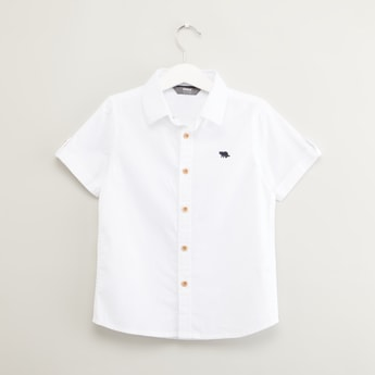 Plain Shirt with Spread Collar and Short Sleeves