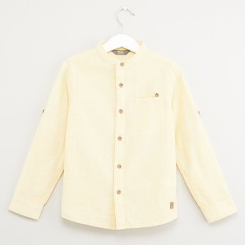 Textured Mandarin Collar Shirt with Long Sleeves and Chest Pocket