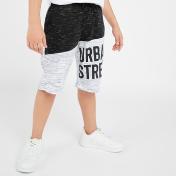 Text Print Colour Block Shorts with Pockets and Drawstring