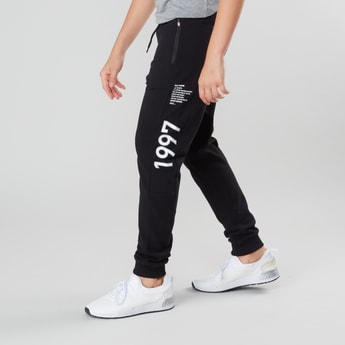 Side Text Print Jog Pants with Pocket Detail and Drawstring