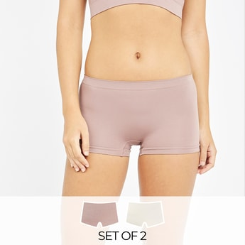 Set of 2 - Textured Shapewear Briefs with Elasticised Waistband