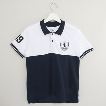 Colourblock Polo T-shirt with Short Sleeves