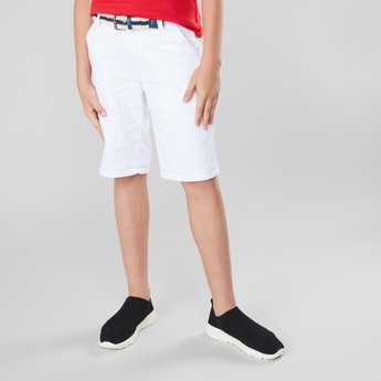 Textured Woven Shorts with Striped Belt