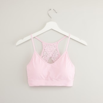 Solid Shaping Bra with Lace Detail Racerback