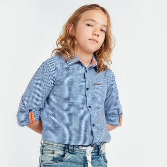 Checked Shirt with Long Sleeves and Button Tabs