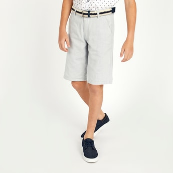 Textured Shorts with Belt and Pocket Detail