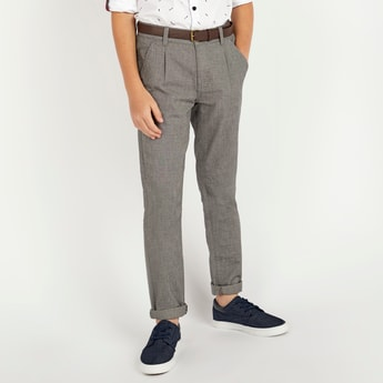 Full Length Textured Trousers with Pocket Detail and Belt