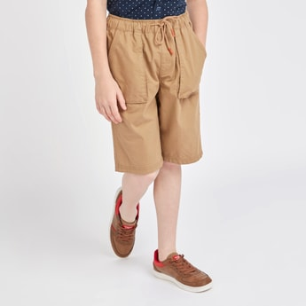 Solid Cargo Shorts with Pockets and Drawstring Closure