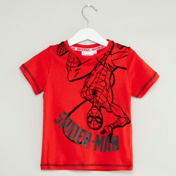 Spider-Man Print T-shirt with Short Sleeves