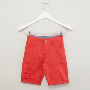Textured Shorts with Pocket Detail and Elasticised Waistband
