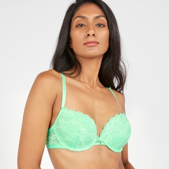 Lace Detail Plunge Bra with Hook and Eye Closure