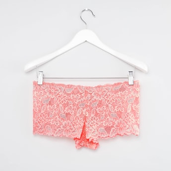 Textured Boyshorts with Lace Detail and Elasticised Waistband