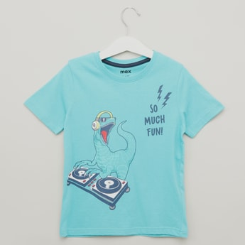 Print T-shirt with Round Neck and Short Sleeves