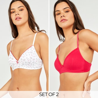 Set of 2 - Lace Detail Padded T-shirt Bra with Bow Applique