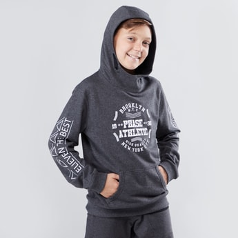 Printed Hoodie with Long Sleeves and Kangaroo Pockets